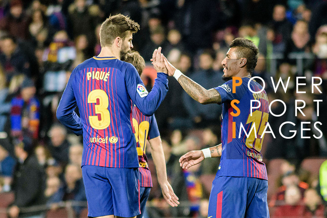 Paulinho Maciel of FC Barcelona (R) celebrating his score with Gerard Pique of FC Barcelona (L) during the La Liga 2017-18 match between FC Barcelona and Deportivo La Coruna at Camp Nou Stadium on 17 December 2017 in Barcelona, Spain. Photo by Vicens Gimenez / Power Sport Images