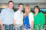 NIGHT AT THE DOGS: Having a great time at the Kingdom Greyhound Night at the Dogs on Friday l-r: James Leahy, Newcastlewest, Cillian Denn, Waterford, Aine Egan, Castleisland and Patricia McEllistrim, Ballybunion.