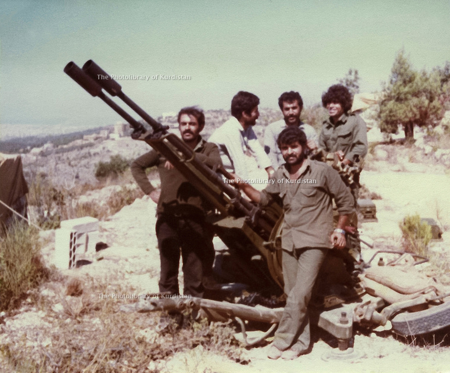 Lebanon 1980 Right, in front Azad Sagerma and a douchka 23 mm. With him,  peshmergas and Palestinians in a training camp<br />