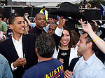 Sen. Barrack Obama speaks to a crowd of supporters during a rally held in Austin, Texas on February 23, 2007.