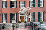Historic brownstones in Louisbourg Square on Beacon Hill, Boston, Massachusetts, USA