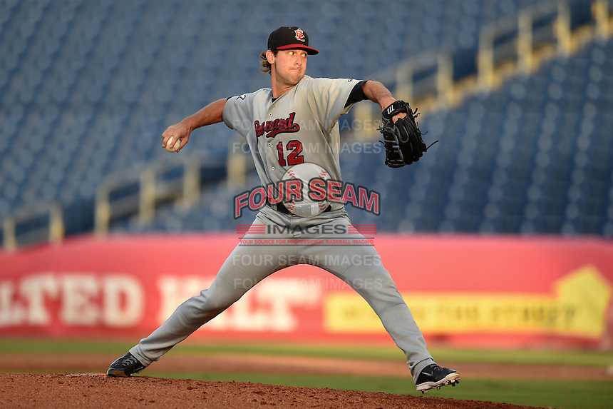 Brevard County Manatees  pitcher Austin Ross (12) delivers a pitch during a game against the Clearwater Threshers on June 28, 2014 at Bright House Field in Clearwater, Florida.  Brevard County defeated Clearwater 6-4.  (Mike Janes/Four Seam Images)