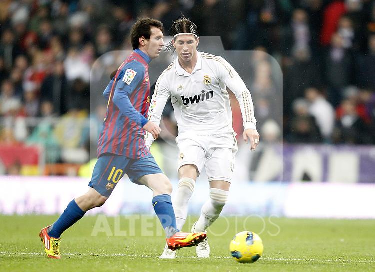 Real Madrid's Sergio Ramos against Barcelona's Lionel Messi during La Liga Match. December 10, 2011. (ALTERPHOTOS/Alvaro Hernandez)