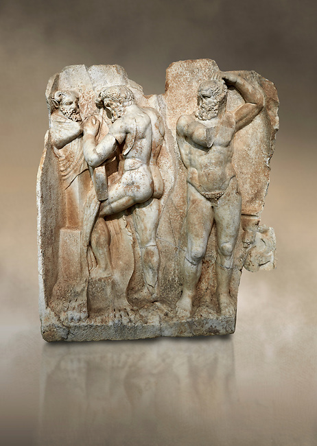 Roman Sebasteion relief sculpture of  Herakles is preparing to wrestle the Libyan giant Antaios. Aphrodisias Museum, Aphrodisias, Turkey. Against an art background.<br /> <br /> Herakles (left) is taking off his bow case to hang it on a pillar statue. Antaios (right) is binding up his head with ear protectors, next to him stands an oil basin used in the palaistra (wrestling ground). Antaios was a famous wrestler who challenged and killed all visitors to his country, until he was defeated by Herakles.