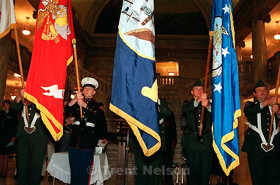 The Utah Joint Service Color Guard &amp; 419th Transportation Unit at the Utah Veterans of Desert Storm &amp; America's Foreign Wars Candlelight Ceremony<br />