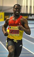 Photo: Paul Greenwood/Richard Lane Photography. Aviva World Trials & UK Championships. 14/02/2010. .Leon Baptiste, reacts to winning the Mens 200m.