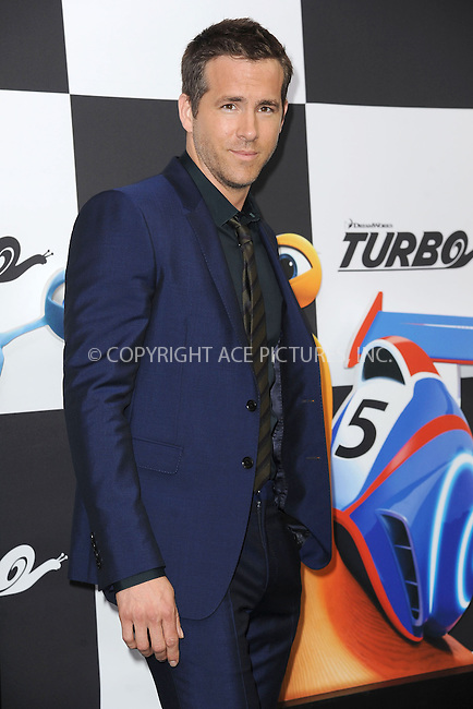 WWW.ACEPIXS.COM<br /> July 9, 2013...New York City <br /> <br /> Ryan Reynolds attending the DreamWorks Animation, in Association with 20th Century Fox Premiere of TURBO<br /> at AMC Loews Lincoln Square, New York, NY on July 9, 2013.<br /> <br /> Please byline: Kristin Callahan... ACE<br /> Ace Pictures, Inc: ..tel: (212) 243 8787 or (646) 769 0430..e-mail: info@acepixs.com..web: http://www.acepixs.com