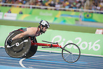 RIO DE JANEIRO - 10/9/2016:  Jean-Philippe Maranda competes in the Men's 400m - T53 Heat in the Olympic Stadium during the Rio 2016 Paralympic Games. (Photo by Matthew Murnaghan/Canadian Paralympic Committee