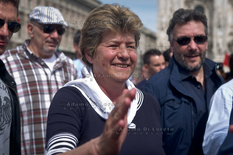 Susanna Camusso leader of CGIL Union during 25 April demonstration italian liberation of Nazi Fascism World War II thanks by partigiani, on April 25, 2014. Photo: Adamo Di Loreto/BuenaVista*photo