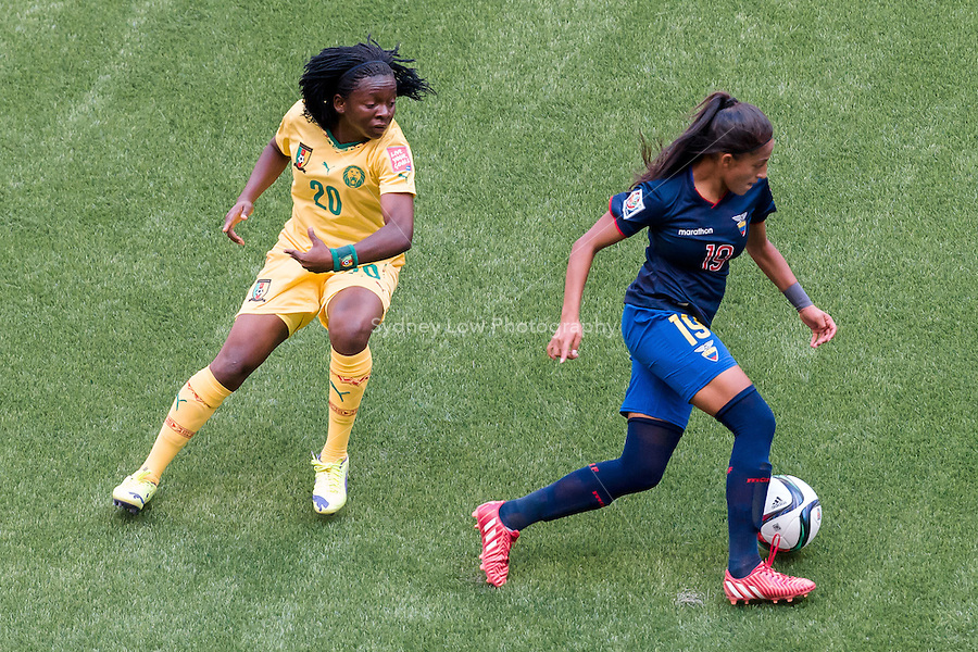 June 8, 2015: Kerlly REAL of Ecuador runs with the ball during a Group C match at the FIFA Women's World Cup Canada 2015 between Cameroon and Ecuador at BC Place Stadium on 8 June 2015 in Vancouver, Canada. Sydney Low/AsteriskImages