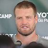 Ryan Fitzpatrick #14, New York Jets quarterback, speaks with the media after practice at Atlantic Health Jets Training Center in Florham Park, NJ on Wednesday, Aug. 17, 2016.