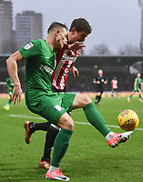 Preston's Billy Bodin and Brentford's Andreas Bjelland<br /> <br /> Photographer Jonathan Hobley/CameraSport<br /> <br /> The EFL Sky Bet Championship - Brentford v Preston North End - Saturday 10th February 2018 - Griffin Park - Brentford<br /> <br /> World Copyright &copy; 2018 CameraSport. All rights reserved. 43 Linden Ave. Countesthorpe. Leicester. England. LE8 5PG - Tel: +44 (0) 116 277 4147 - admin@camerasport.com - www.camerasport.com