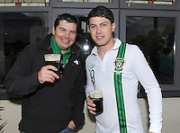 6th September 2013; Cathal Curley and David Rigney from Lusk, Co Dublin at the Chop House Bar  ahead of the 2014 FIFA World Cup Qualifier, Group C,  Republic of Ireland v Sweden, Aviva Stadium, Dublin. Picture credit: Tommy Grealy/actionshots.ie.