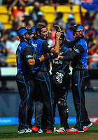 Tim Southee celebrates bowling Moeen Ali during the ICC Cricket World Cup one day pool match between the New Zealand Black Caps and England at Wellington Regional Stadium, Wellington, New Zealand on Friday, 20 February 2015. Photo: Dave Lintott / lintottphoto.co.nz