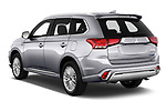 Car pictures of rear three quarter view of a 2019 Mitsubishi Outlander PHEV Instyle 5 Door SUV angular rear