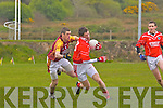 David O'Callaghan of St Pat's Blennerville races past John Sheeran  of Duagh last Sunday afternoon in Duagh.