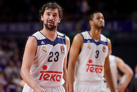 Real Madrid's Sergio Llull and Anthony Randolph during Turkish Airlines Euroleague match between Real Madrid and CSKA Moscow at Wizink Center in Madrid, Spain. January 06, 2017. (ALTERPHOTOS/BorjaB.Hojas)