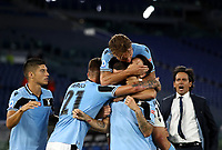 Football, Serie A: S.S. Lazio - Fiorentina, Olympic stadium, Rome, June 27, 2020. <br /> Lazio's Luis Alberto celebrates after scoring with his teammate and coach during the Italian Serie A football match between S.S. Lazio and Fiorentina at Rome's Olympic stadium, Rome, on June 27, 2020. <br /> UPDATE IMAGES PRESS/Isabella Bonotto