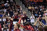 21 APR 2012:  Geralen Stack-Eaton of the University of Alabama celebrates after dismounting the beam during the Division I Women's Gymnastics Championship held at the Gwinnett Center Arena in Duluth, GA. Alabama placed first with a team score of 197.850. Joshua Duplechian/NCAA Photos