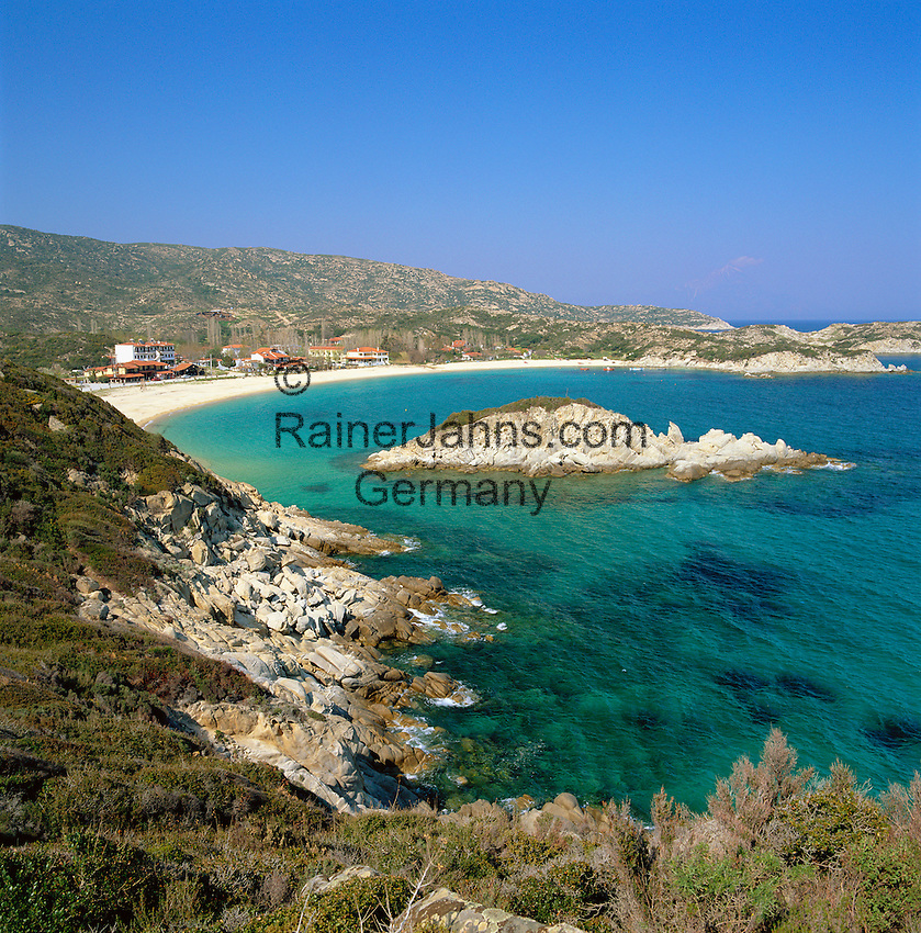 Greece, Central Macedonia, Chalkidiki, Skala Sykias: village at the East coast of Sithonia Peninsula, sandy beach at Sykia Bay | Griechenland, Zentralmakedonien, Chalkidiki, Skala Sykias: Dorf an der Ostkueste der Halbinsel Sithonia, Sandstrand in der Bucht von Sykia