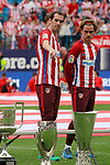 Atletico de Madrid's Diego Godin (l) and Antoine Griezmann after last Liga match. May 21,2017. (ALTERPHOTOS/Acero)