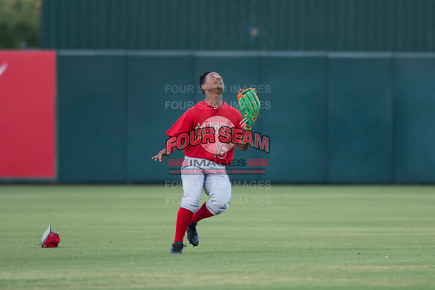 AZL Angels left fielder Datren Bray (16) prepares to catch a fly ball during an Arizona League game against the AZL Indians 2 at Tempe Diablo Stadium on June 30, 2018 in Tempe, Arizona. The AZL Indians 2 defeated the AZL Angels by a score of 13-8. (Zachary Lucy/Four Seam Images)