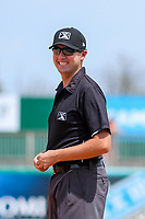 First base umpire Trevor Dannegger during a Midwest League game between the Lansing Lugnuts and the Wisconsin Timber Rattlers on May 8, 2018 at Fox Cities Stadium in Appleton, Wisconsin. Lansing defeated Wisconsin 11-4. (Brad Krause/Four Seam Images)