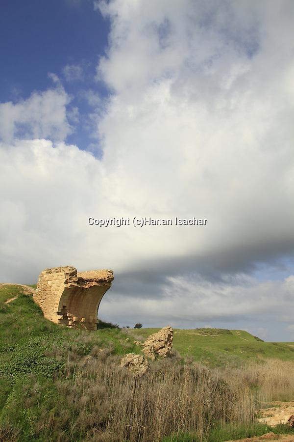 Israel, negev, ruins of the turkish bridge over Wadi Pura, Tel Nagila is in the background