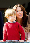 16-04-2014 Balcony 74th birthday of the Danish Queen at Marselisborg Castle in Aarhus. <br /> Princess Mary and Prince Vincent <br /><br /> <br /> <br /> Credit: PPE/face to face<br /> - No Rights for Netherlands -