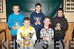 PLAYERS OF THE YEAR: The Abbeydorney G.L.C. underage players of the year at their awards ceremony at their clubhouse on Friday seated l-r: Tom McElligott (U15 Player of the year) and Michael O'Leary (U13 Player of the year). Back l-r: Stevie O'Sullivan (U14 Player of the year), Ronan Donovan (U12 Player of the year) and Niall O'Mahony (U11 Player of the year).