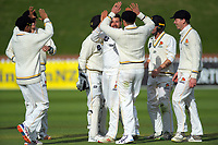 Wellington's Malcolm Nofal celebrates dismissing Otago's Dale Phillips during day two of the Plunket Shield cricket match between the Wellington Firebirds and Otago Volts at the Basin Reserve in Wellington, New Zealand on Tuesday, 22 October 2019. Photo: Dave Lintott / lintottphoto.co.nz