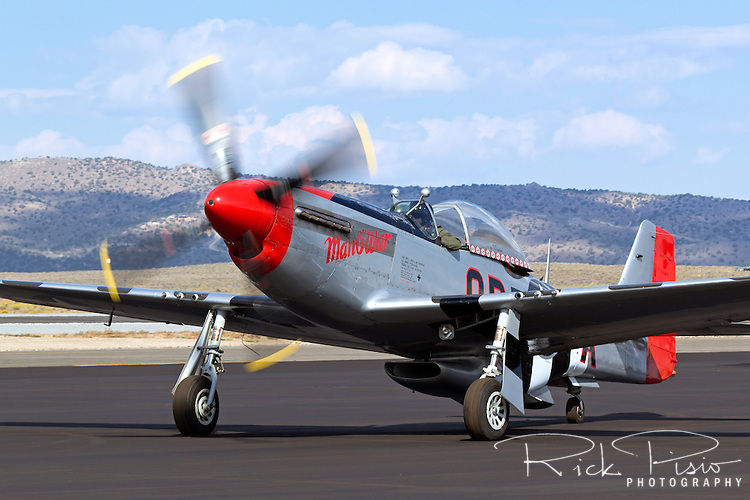 P-51 Mustang Man O War taxis at Stead Field in Nevada