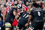 Gloucester's Tom Savage is hit by a dominant Saracens defence - Rugby Union - 2014 / 2015 Aviva Premiership - Saracens vs. Gloucester - Allianz Park Stadium - London - 11/10/2014 - Pic Charlie Forgham-Bailey/Sportimage