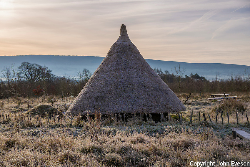 Iron age hut, Wild Boar Park in frost, Chipping, Lancashire, England.