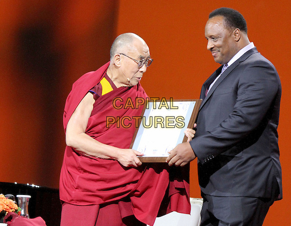 25 February 2014 - Los Angeles, California - Dalai Lama, Inglewood Mayor James Butts.  His Holiness the 14th Dalai Lama of Tibet &quot;21st Century Compassion&quot; public speaking event held at the LA Forum.<br /> CAP/ADM/RE<br /> &copy;Russ Elliot/AdMedia/Capital Pictures