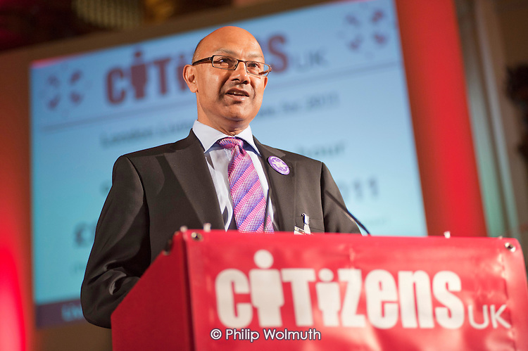 "Bharat Mehta, Chief Executive of the Trust for London, announces the new rate for the London Living Wage (£8.30) at a ""Day for Civil Society"" organized by Citizens UK / London Citizens to celebrate 10 years of the Living Wage Campaign, launch a National Living Wage Foundation and call for the living wage to be adopted nationally.  Central Hall, Westminster."