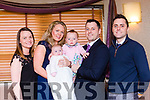 Chloe O'riordan, Kilcummin, celebrated her christening with her parents David and Michelle big sister Elena and god parents Kevin O'Riordan and Irene Hourihan in the Dromhall Hotel on Sunday