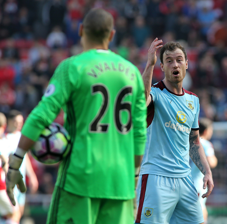 Burnley's Ashley Barnes argus with Middlesbrough's Victor Valdes<br /> <br /> Photographer David Shipman/CameraSport<br /> <br /> The Premier League - Middlesbrough v Burnley - Saturday 8th April 2017 - Riverside Stadium - Middlesbrough<br /> <br /> World Copyright &copy; 2017 CameraSport. All rights reserved. 43 Linden Ave. Countesthorpe. Leicester. England. LE8 5PG - Tel: +44 (0) 116 277 4147 - admin@camerasport.com - www.camerasport.com