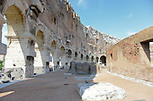 An interior walkway between the remaining outer and inner walls in the upper area of the Colosseum, also known as the Flavian Amphitheatre, in Rome, Italy on Friday, May 25, 2012.  .Credit: Ron Sachs / CNP