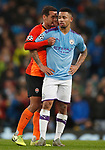 Alan Patrick of Shakhtar Donetsk talks to Gabriel Jesus of Manchester City during the UEFA Champions League match at the Etihad Stadium, Manchester. Picture date: 26th November 2019. Picture credit should read: Darren Staples/Sportimage