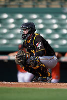 Pittsburgh Pirates catcher Jason Delay (64) waits to receive a pitch during a Florida Instructional League game against the Baltimore Orioles on September 22, 2018 at Ed Smith Stadium in Sarasota, Florida.  (Mike Janes/Four Seam Images)