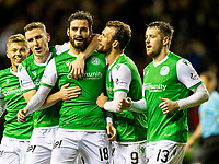 12th February 2020; Easter Road, Edinburgh, Scotland; Scottish Premiership Football, Hibernian versus Ross County; Adam Jackson of Hibernian celebrates after scoring the Hibernian third goal for 3-0 in the 83rd minute