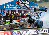 Jun 17, 2018; Bristol, TN, USA; NHRA top fuel driver Tony Schumacher during the Thunder Valley Nationals at Bristol Dragway. Mandatory Credit: Mark J. Rebilas-USA TODAY Sports