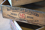The Swastika Whsikey from the Frankfort Distllery are among the artifacts in the whiskey musuem in Bardstown Kentucky include old bottles from J.W. Dant and crates from the Frankfort Distillery.