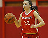 Emily Meyer #12 of St. John the Baptist dribbles downcourt during the CHSAA varsity girls basketball Class B state semifinals against host Monsignor McClancy High School in East Elmhurst, NY on Friday, Mar. 11, 2016. McClancy won by a score of 63-49.