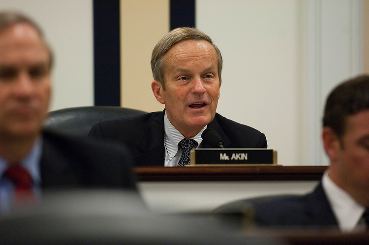 WASHINGTON, DC - May 13: House Armed Services Subcommittee on Seapower and Expeditionary Forces ranking member Todd Akin, R-Mo., during the markup of the panel's portion of the fiscal 2011 defense authorization bill. The House panel that oversees Navy shipbuilding approved language that would restrict some research and development funding for an expensive new ballistic missile submarine until the Navy provided it with an analysis justifying the decision to go forward. (Photo by Scott J. Ferrell/Congressional Quarterly)