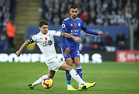 Burnley's Robbie Brady and Leicester City's Rachid Ghezzal<br /> <br /> Photographer Rachel Holborn/CameraSport<br /> <br /> The Premier League - Saturday 10th November 2018 - Leicester City v Burnley - King Power Stadium - Leicester<br /> <br /> World Copyright &copy; 2018 CameraSport. All rights reserved. 43 Linden Ave. Countesthorpe. Leicester. England. LE8 5PG - Tel: +44 (0) 116 277 4147 - admin@camerasport.com - www.camerasport.com