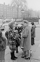 Anna Scher Children's Theatre, East End of London 1972.  Kids would come after school and be expected to work hard.  Here, they're waiting for the coach to take them to the BBC for some filming.  Some went on to have careers in the industry and a few became household names: Pauline Quirk, Phil Daniels.