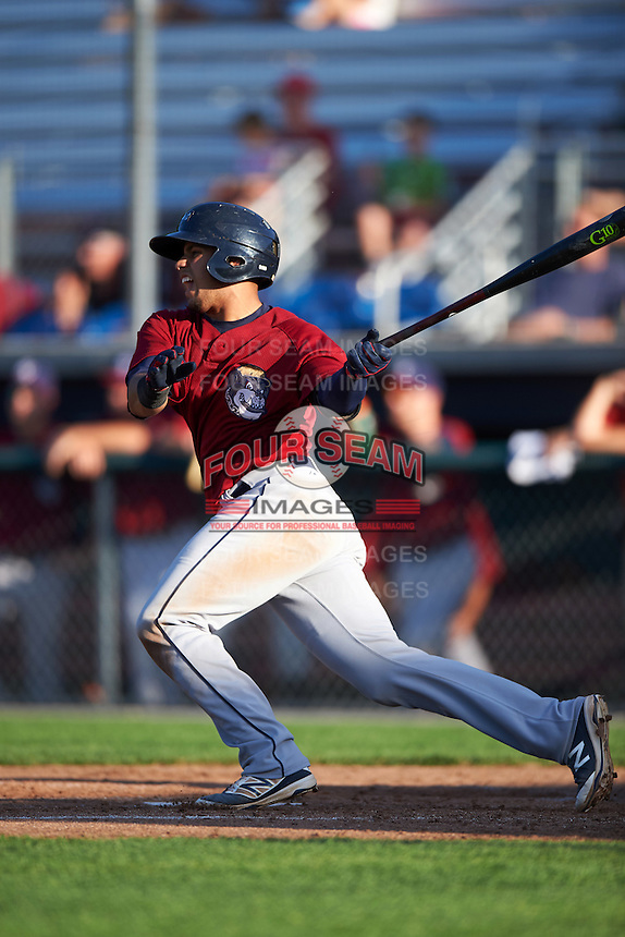 Mahoning Valley Scrappers catcher Gian Paul Gonzalez (16) at bat during a game against the Auburn Doubledays on July 17, 2016 at Falcon Park in Auburn, New York.  Mahoning Valley defeated Auburn 3-2.  (Mike Janes/Four Seam Images)