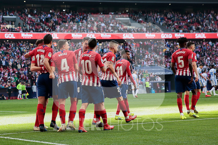 Atletico de Madrid's players celebrate goal during La Liga match between Atletico de Madrid and CD Leganes at Wanda Metropolitano stadium in Madrid, Spain. March 09, 2019. (ALTERPHOTOS/A. Perez Meca)